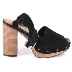 Free People Black Leather Open Toe Platform Heels